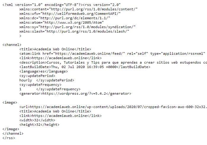 Feed RRS en formato XML