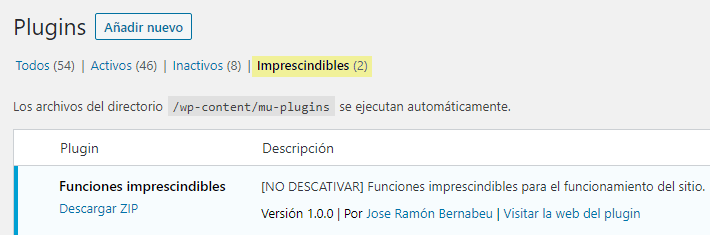 Plugin de funciones en WordPress de uso obligatorio